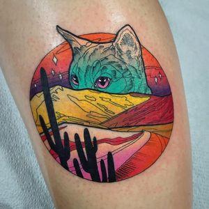 Desert kitty tattoo by Katie Shocrylas #KatieShocrylas #landscapetattoo #color #newtraditional #landscape #desert #sand #mountains #cacti #cactus #kitty #cat #petportrait #stars