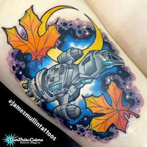 Serenity and Leaves via instagram jamesmullintattoos #firefly #serenity #josswhedon #scifi #colorful #space