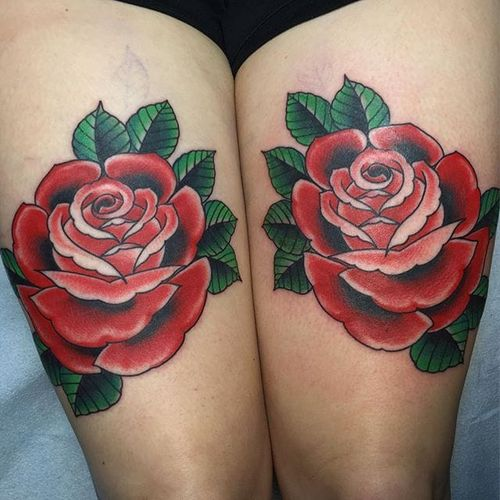 Beau Brady delivers on these beautiful reflected classic red rose tattoos. #banger #BeauBrady #bold #roses #traditionalamerican