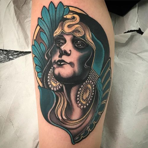 Theda Bara by Vale Lovette #ValeLovette #ArtNouveautattoo #color #neotraditional #ornamental #floral #leaves #nature #ThedaBara #actress #pearls #jewelry #snake #reptile #Cleopatra