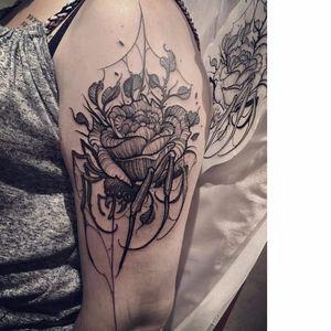 Spider rose tattoo by Jereminsky #Jereminsky #blackwork #monochrome #monochromatic #blackandgrey #trashstyle #graphic #spider #rose