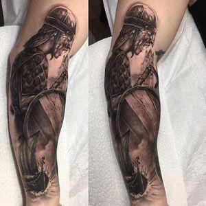 Viking Soldier, by Michael Brito #MichaelBrito #blackandgrey #sentimental #moodtattoo #viking #soldier #vikingsoldier