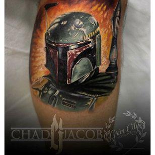 Boba Fett Tattoo by Chad Jacob #BobaFett #Portrait #ColorPortrait #PortraitTattoos #ColorRealism #ChadJacob #bobafett