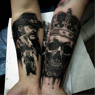 Cool tribute tattoo by David Taute #DavidTaute #motörhead #motorhead #lemmy #blackandgrey #skull #crown