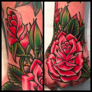 Clean and beautiful rose tattoo done by Simon Blay. #SimonBlay #TLCtattoo #TraditionalLondonClan #boldtattoos #rose