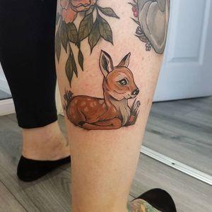 Fawn tattoo by Aimee Bray. #deer #fawn #neotraditional #AimeeBray #animal #bambee