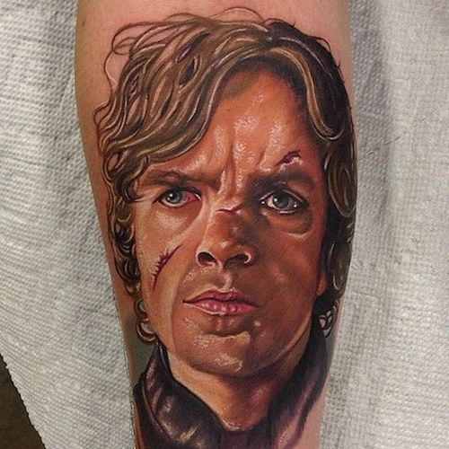 Vibrant and Realistic Tyrion Lannister Tattoo #Tyrion #Lannister #TyrionLannister #TyrionTattoo #TyrionLannisterTattoo #PeterDinklage #Portrait #GameofThrones