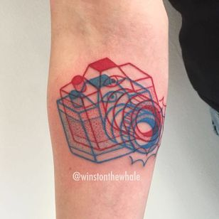Photography tattoo by winsonthewhale on Instagram. #photography #camera #photo #photographer #contemporaryart #anaglyph #3d