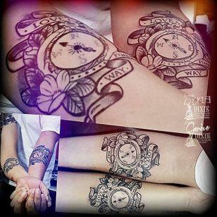 Compass Tattoo by Dixie Tattoo #matchingtattoos #couplestattoos #couple #DixieTattoo