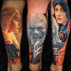 Game of Thrones Daenerys Targaryen, Sansa Stark, and White Walker sleeve by Carlos Rojas #CarlosRojas #color #realism #portrait #gameofthrones #got #sansastark #valarmorghulis #daenerystargaryen #whitewalker #winteriscoming #tattoooftheday