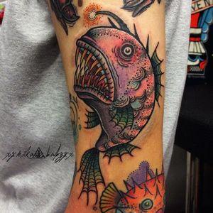 Anglerfish Tattoo by Mika Baby #anglerfish #anglerfishtattoo #anglerfishtattoos #angler #anglertattoo #fish #fishtattoo #traditional #traditionalanglerfish #MikaBaby