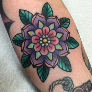 Flower mandala tattoo #ChristinaHock #flower #mandala #pastel #neon