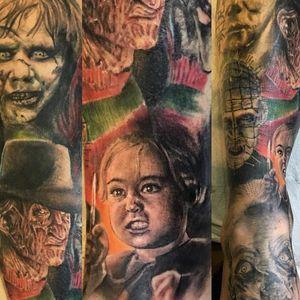 Horror movie villian sleeve by Kenny K-Bar (via IG -- tattosbykbar) #KennyKBar #FreddyKrueger #hellraiser #petcemetary