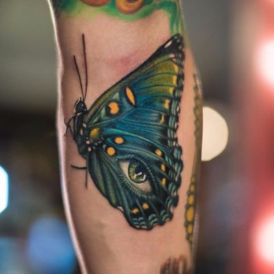 All Seeing Butterfly Eye by Megan Massacre #meganmassacre #color #realism #realistic #hyperrealism #surreal #butterfly #eye #nature #insect #tattoooftheday