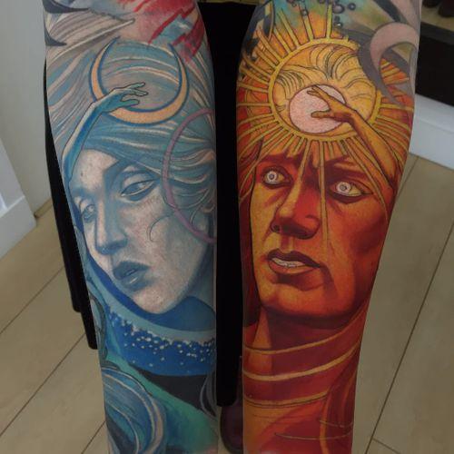 Apollo and Selene by Steve Moore #SteveMoore #color #neotraditional #Apollo #Selene #mythology #gods #deities #sun #moon #night #day #portrait #stars #Greek #Roman #tattoooftheday