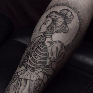 Blackwork Victorian era woman tattoo by Dmitriy Zakharov. #DmitriyZakharov #blackwork #dotwork #victorian #bizarre