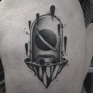 Planet Tattoo by Jaffa Wane #planet #planettattoo #blackwork #blackworktattoo #blackworkartist #darkart #JaffaWane