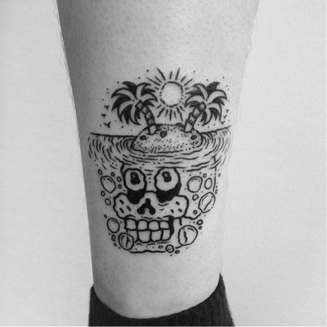 Rad skull tattoo by Dalas #Dalas #blackwork #cartoon #comics #popart #surrealistic #skull #desertisland #opticalillusion
