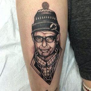 The most baller Jeff Goldblum tattoo ever by Isaac Holland (IG—isaacjholland). #blackandgrey #IsaacHolland #JeffGoldblum #JurassicPark #portraiture