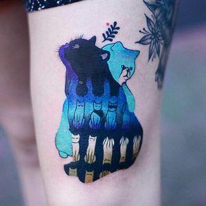 Trippy cats tattoo by Joanna Świrska. #JoannaSwirska #psychedelic #trippy #flora #fauna #nature #contemporary #animal #cat