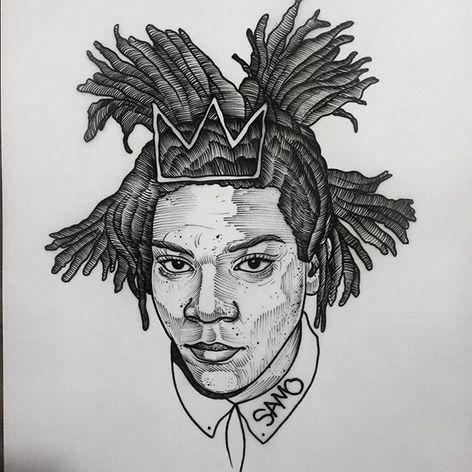 Basquiat. (via IG - daniel_kickflip_tattooer) #Portraits #Celebrities #Flash #Basquiat