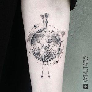 Geometric earth tattoo by Vytautas Vy. #VytautasVy #blackwork #earth #geometric