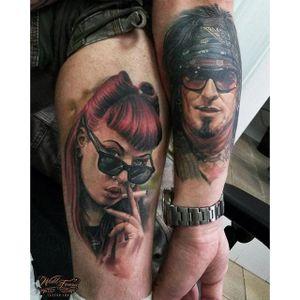 Matching portrait tattoos by Sergey Shanko #SergeyShanko #realistic #photorealistic #portrait