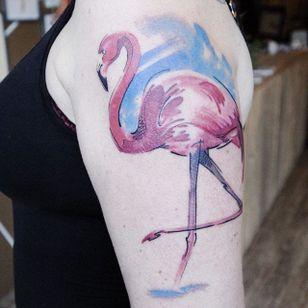 Sketch style watercolor flamingo tattoo by Mara Koekoek. #penandink #abstract #watercolor #MaraKoekoek #bird #flamingo