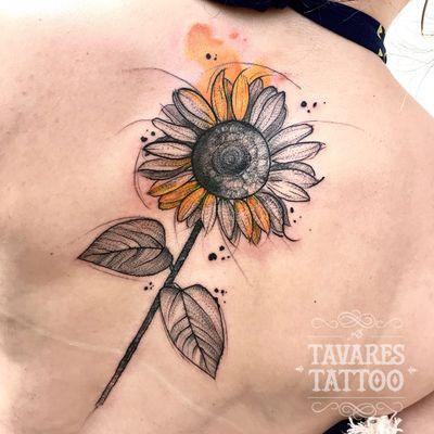 #JCTavares #brasil #brazil #brazilianartist #tatuadoresdobrasil #blackwork #pontilhismo #dotwork #sketch #aquarela #watercolor #flor #flower #girassol #sunflower #folha #leaf