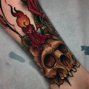 The light of death. Tattoo by Ick Abrams #ickabrams #candletattoos #color #neotraditional #candle #light #flame #skull #death #leaves #nature