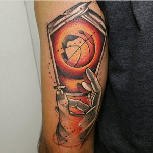 Cool b-ball tattooe. (via IG - abstractotattoos) #Basketball #BasketballTattoo #BasketballTattoos #NBA