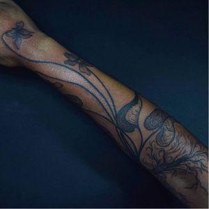 Tattoo by Noel'le Longhaul #NoelleLonghaul #linework #blackwork #dotwork #illustrative #nature #etching #orchids #roots #leaves #floral #flower