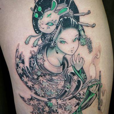 Cute bunny babe tattoo by Horibenny #Horibenny #Japanesetattoos #color #anime #manga #bunny #mask #geisha #kimono #pipe #opium #smoke #lady #cute #leaves #flowers #green #tattoooftheday