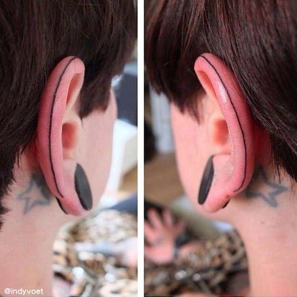 Traço contínuo #IndyVoet #eartattoo #helixtattoo #tatuagemnaorelha #tendencia #fineline #traçocontinuo #earcuff #linhafina