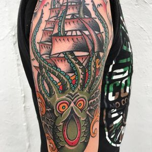 Sea monster by Jhon Rodriguez (via IG -- jhonrodriguez) #JhonRodriguez #seamonster #seamonstertattoo