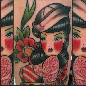 Tattooed Sailor Girl Tattoo by Perelyakina Elizaveta #sailorgirl #sailorgirltattoo #tattooedsailorgirl #tattooedsailorgirltattoo #tattoosintattoos #traditional #nautical #pinup #LizaPerelyakina