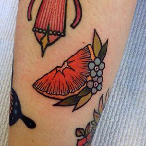 Orange you glad you got this tattoo? (via IG- @missquartz) #filler #tinytattoos #traditional #banger