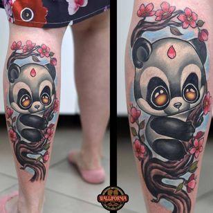 Panda tattoo by Rude Eye #RudeEye #newschool #animal #cute #kawaii #babyanimal #panda #cherryblossom