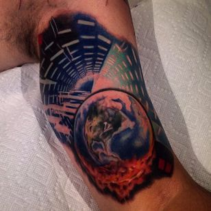 Earth tattoo done at @elitecustomtattoo #earth #earthtattoo #climatechange #planetearth