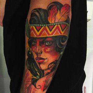 Awesome native portrait tattoo by Joe Frost #Native #girlhead #nativetattoo #JoeFrost #neotraditional
