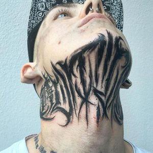 Lettering Tattoo by Felix Seele #lettering #blackwork #neck #blackworkneck #darkart #blackworkartist #FelixSteele