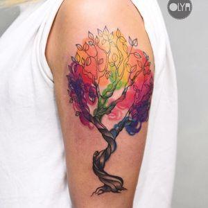 Tree Tattoo by Olya Levchenko #tree #watercolortree #watercolor #watercolorartist #contemporary #colorful #OlyaLevchenko