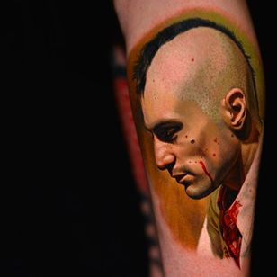 """Zoomed out Tattoo of Robert de Niro from the movie """"Taxi Driver"""" by Nikko Hurtado @NikkoHurtado #NikkoHurtado #Cinematic #Portrait #TaxiDriver #RobertdeNiro"""