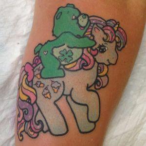 Care Bear tattoo by Lauren Winzer. #LaurenWinzer #carebear #cute #girly #bear #cartoon #stuffedtoy #unicorn