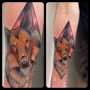 Geometric neo traditional collie tattoo by Pablo Diaz-Granados. #collie #dog #geometric #neotraditional #galaxy #PabloDiazGranados