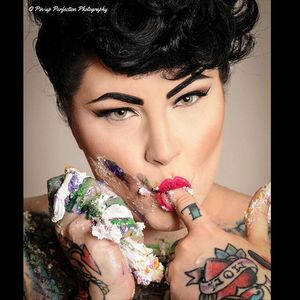 Lady Dallas says let them eat cake photo from Pinup Perfection Photography #DallasValentine #plusmodel #tattooedbabes #AmericanTraditional #model #pinup #glamor #PinupPerfection