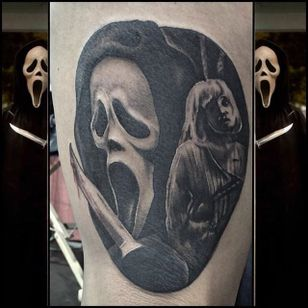 Ghost face and Drew Barrymore Scream inspired tattoo by Shane Murphy. #blackandgrey #realism #horror #Scream #GhostFace #DrewBarrymore #ShaneMurphy