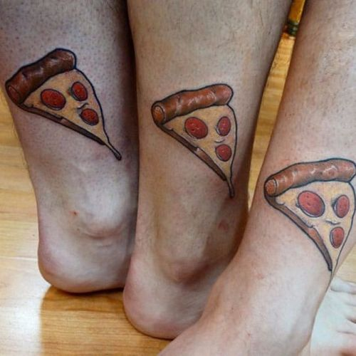 For siblings who are pizza lovers #siblingtattoo #brother #sister #pizza #matchingtattoos