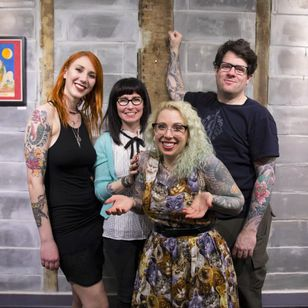 The Eight of Swords crew raised over $3000 for animals in need. From L to R Sonia Karas Zoe Bean, Betty Rose (winner of Tattoodo's best dressed award) and Dave C Wallin. Photo credit Ann Marie Amick (IG -- am_amick) cropped by Tattodo staff #eightofswords