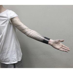 Blackwork sleeve tattoo by Julia Shpadyreva. #JuliaShpadyreva #blackwork #fineline #blackwork #lines